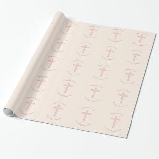 Papier Cadeau Croix de rose en pastel de communion