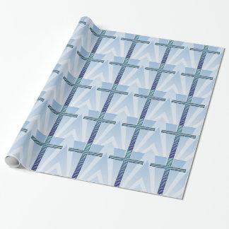 Papier Cadeau Croix sainte dans les ondulations Bleu-Bleues à