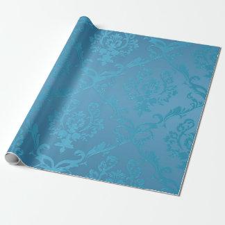 Papier Cadeau Damassé fascinante moderne vintage de turquoise
