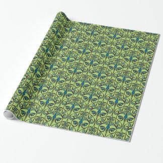 Papier Cadeau Damassé fleurie verte et bleue