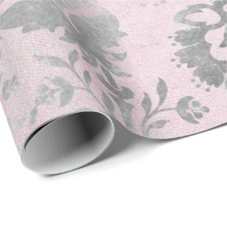 Papier Cadeau Damassé florale de Grung de cottage de gris