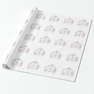Papier Cadeau Dessin de crête de couronne de séquoia de hibou et