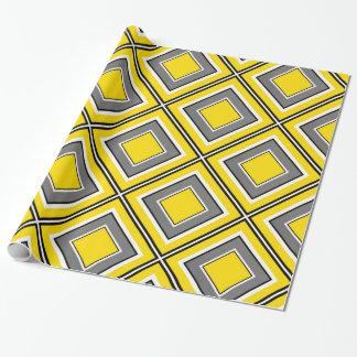 Papier Cadeau Diamant jaune gris géométrique