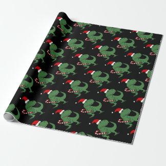 Papier Cadeau Dinosaure mignon de T-rex dans l'art de Noël de