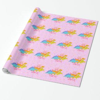 Papier Cadeau Dinosaures mignons roses Girly avec le motif de