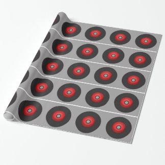 Papier Cadeau Disque vinyle rouge de vieille école