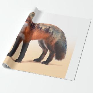 Papier Cadeau Double exposition de Fox - art de renard - renard