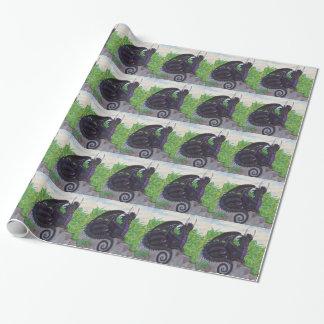 Papier Cadeau Dragon noir pourpre