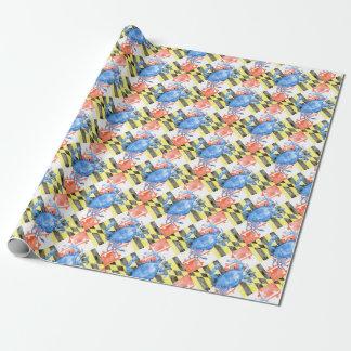 Papier Cadeau Drapeau du Maryland d'aquarelle et crabe bleu