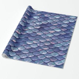 Papier Cadeau Échelles de bleu de mer de sirène
