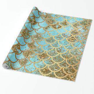 Papier Cadeau Échelles de poissons bleues iridescentes de sirène