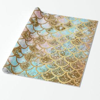Papier Cadeau Échelles de poissons roses iridescentes de sirène