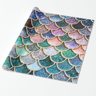 Papier Cadeau Échelles multicolores de luxe de sirène de