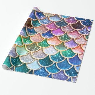 Papier Cadeau Échelles summerly multicolores de sirène de