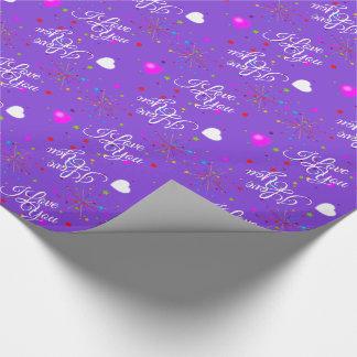 Papier Cadeau Editable je t'aime sur la violette (ou votre