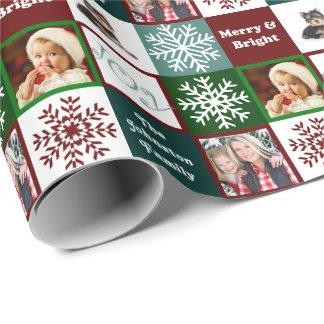 Papier Cadeau Élégance d'hiver de photos de famille de joie de