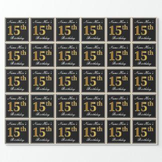 Papier Cadeau Élégant, anniversaire d'or de Faux 15ème + Nom