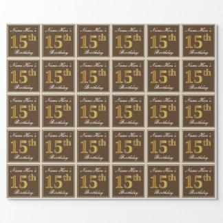 Papier Cadeau Élégant, Brown, anniversaire d'or de Faux 15ème +