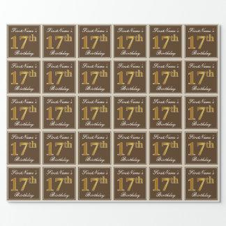 Papier Cadeau Élégant, Brown, anniversaire d'or de Faux 17ème +