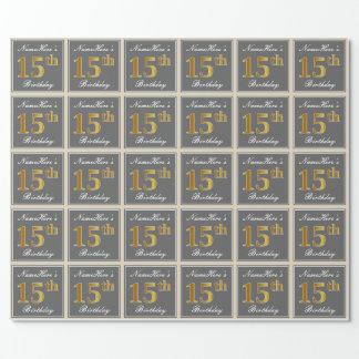 Papier Cadeau Élégant, gris, anniversaire d'or de Faux 15ème +