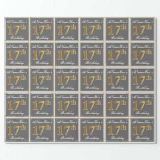 Papier Cadeau Élégant, gris, anniversaire d'or de Faux 17ème +
