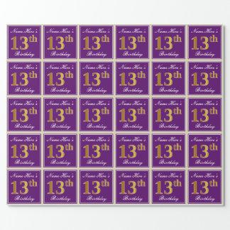 Papier Cadeau Élégant, pourpre, anniversaire d'or de Faux 13ème
