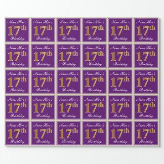 Papier Cadeau Élégant, pourpre, anniversaire d'or de Faux 17ème