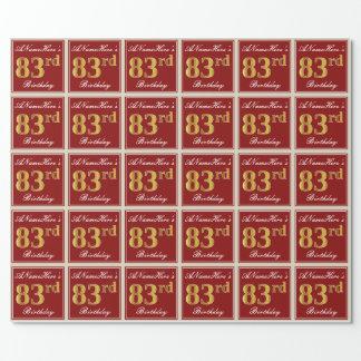 Papier Cadeau Élégant, rouge, anniversaire d'or de Faux