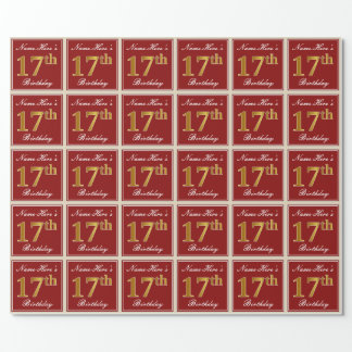 Papier Cadeau Élégant, rouge, anniversaire d'or de Faux 17ème ;