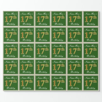 Papier Cadeau Élégant, vert, anniversaire d'or de Faux 17ème +