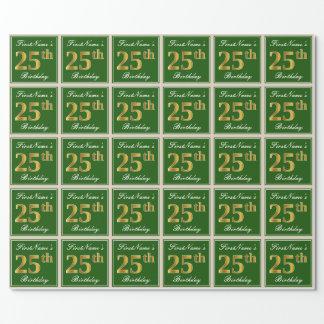 Papier Cadeau Élégant, vert, anniversaire d'or de Faux 25ème +