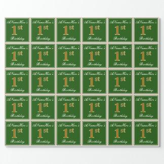 Papier Cadeau Élégant, vert, anniversaire d'or de Faux ęr + Nom