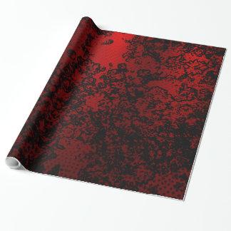 Papier Cadeau Élégant vibrant floral élégant noir rouge rouge
