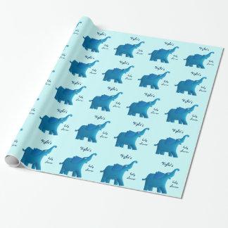 Papier Cadeau éléphant bleu