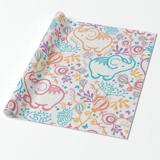 Papier Cadeau Éléphants et fleurs adorables de bébé