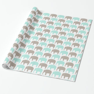 Papier Cadeau éléphants menthe-gris de bébé