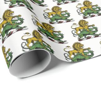 Papier Cadeau Emblème héraldique de crête de lion et de dragon