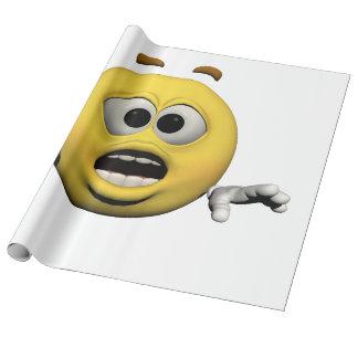 Papier Cadeau Émoticône jaune ou smiley de crainte