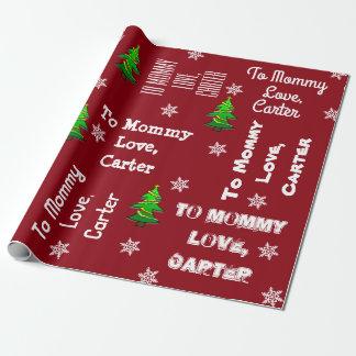 Papier Cadeau Enfant donnant Noël personnalisé par cadeau