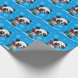 Papier Cadeau Enfant mignon de Noël de neige de patinage de
