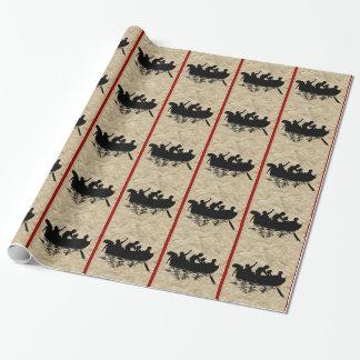 Papier Cadeau Enfants vintages de silhouette dans une rayure de