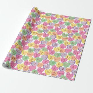 Papier Cadeau Énonciations de sucrerie de coeur de Valentine de