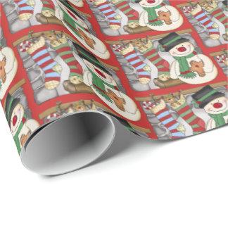 Papier Cadeau Enveloppe carrelée par Noël de fête de bonhomme de
