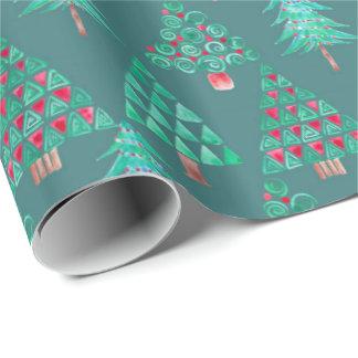 Papier Cadeau Enveloppe de cadeau d'arbre de Noël d'aquarelle de