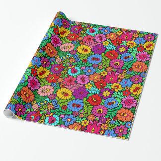 Papier Cadeau Enveloppe de cadeau florale folklorique colorée de