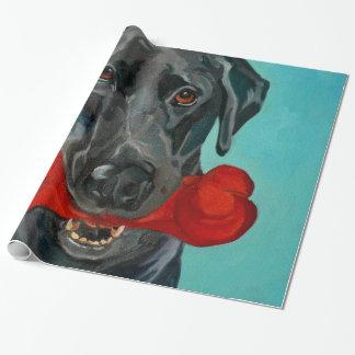Papier Cadeau Enveloppe de cadeau noire de portrait de Labrador