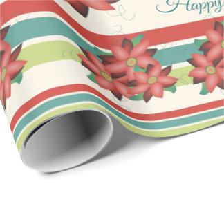Papier Cadeau Enveloppe de cadeau rouge fleurie de joyeux