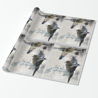 Papier Cadeau Enveloppe de vacances de colombes de deuil en vol