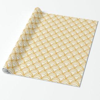 Papier Cadeau Enveloppe jaune et blanche d'or d'art déco de