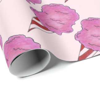 Papier Cadeau Enveloppe tournée rose pelucheuse de carnaval de
